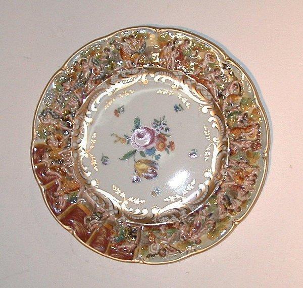 """2: Capo di Monti plate, approximately 11"""" in"""