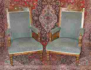 Pair of Edwardian blue upholstered open a