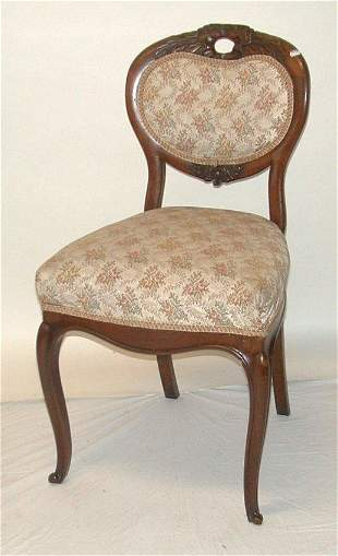 Victorian side chair with floral upholste