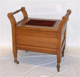Canadiana carved walnut commode with flip