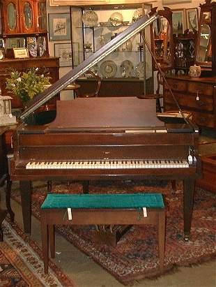 Pollo mahogany cased baby grand piano wit