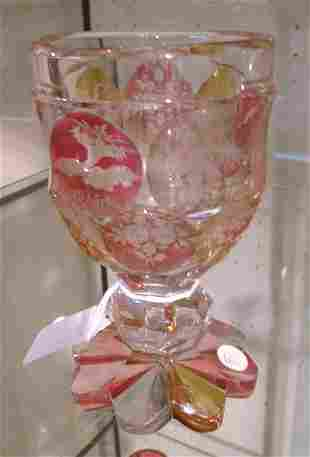 Continental etched glass goblet with ruby