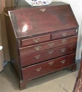 272: Georgian inlaid mahogany bureau.