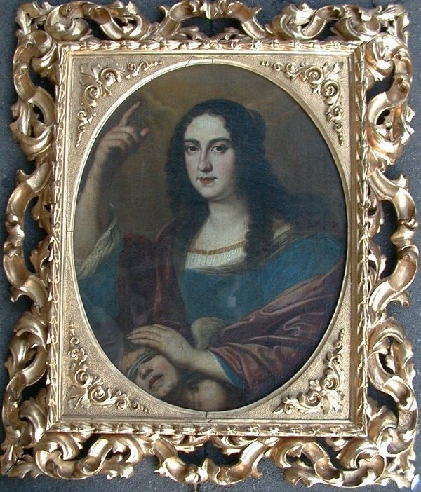 1002: Oil painting on canvas in elaborate gil