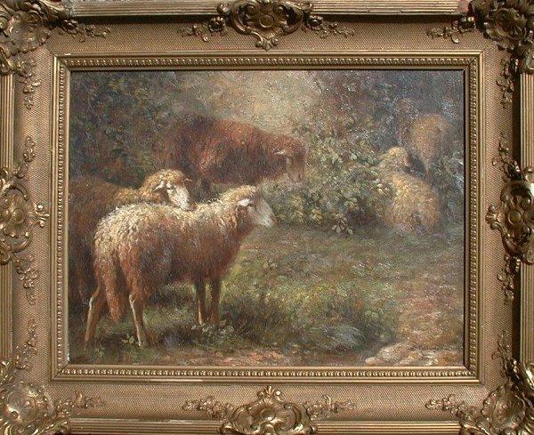 1009: Oil painting on canvas signed M.V. Leem