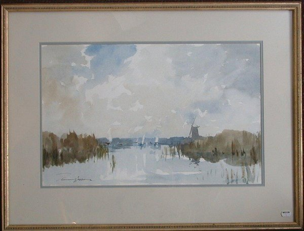 """1013: Watercolor signed Wesson, 13"""" x 20"""", """"L"""