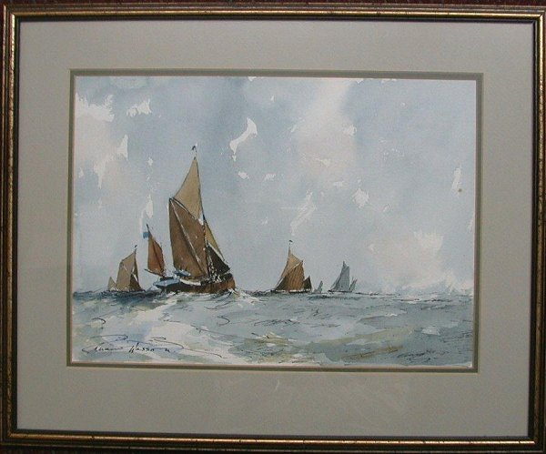 """1014: Watercolour signed Edward Wesson, 10""""x1"""