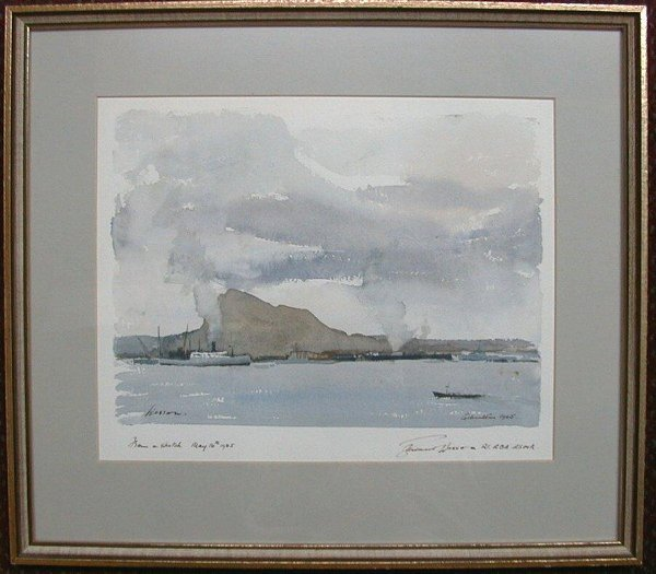 """1015: Watercolour signed Edward Wesson, 10""""x1"""