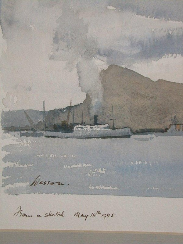 "1015: Watercolour signed Edward Wesson, 10""x1 - 2"