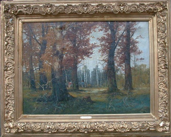 1018: Oil painting on canvas signed J. Vernie