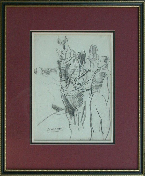 1022: Charcoal drawing signed Laura Knight, 1