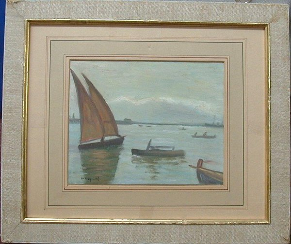 1034: Oil painting on board signed Marquet, 7