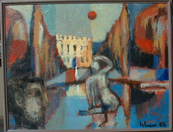 1072: Oil painting signed H. Seibner, '84, 28