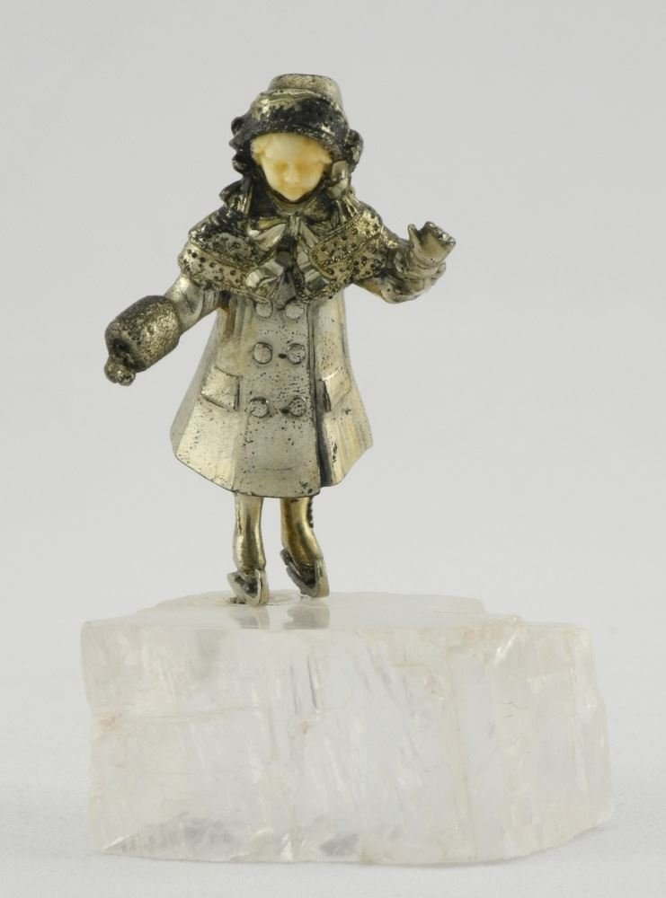 """Small Silver Figure of a Girl Skating on Quartz, 3""""."""