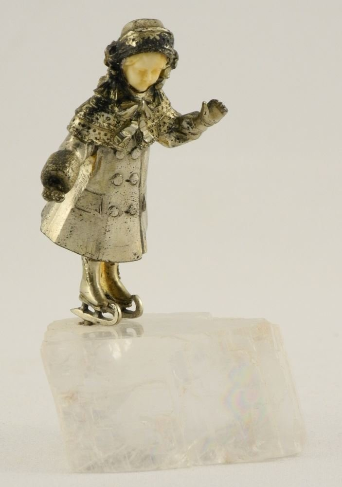 """Small Silver Figure of a Girl Skating on Quartz, 3"""". - 2"""