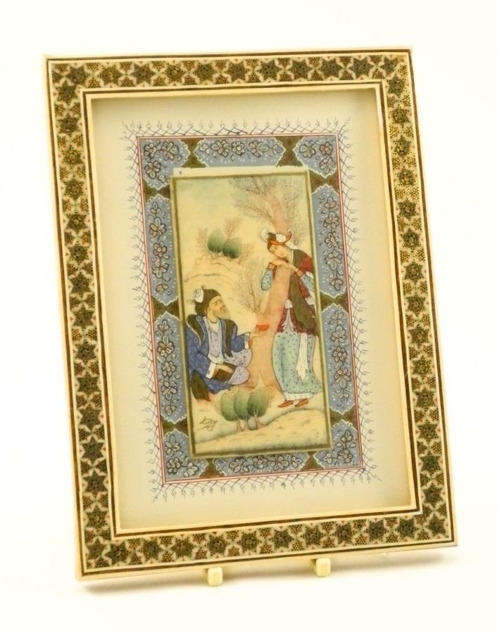 "Indian watercolour on ivory in frame, 4"" x 2""."