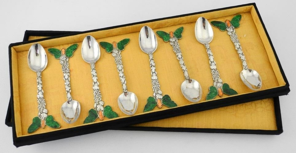Set of 5 Chinese Silver Coffee Spoons with hardstone