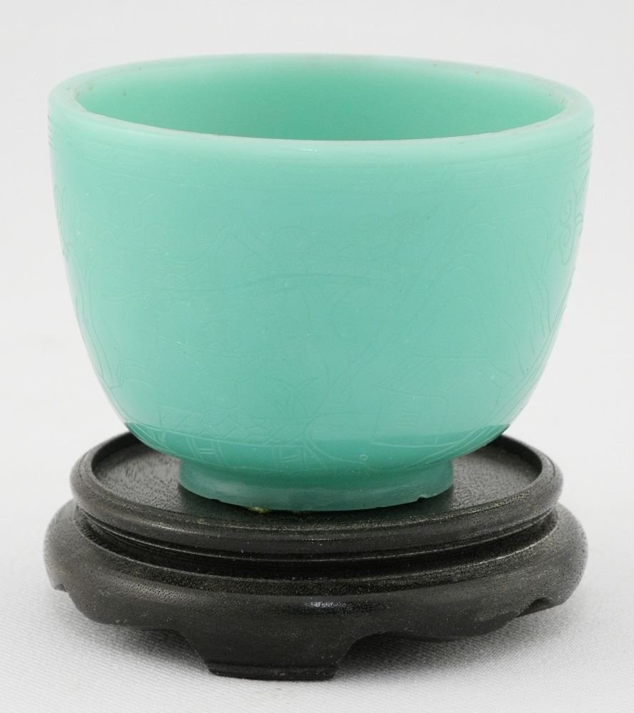 Pale Green Peking Glass Engraved Wine Cup and a
