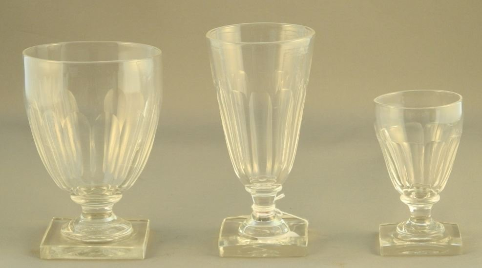 Set of Four English Glass Square Based Goblets with six