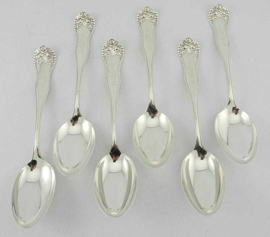 "Six Gorham Sterling Silver Dessert Spoons, ""Bead &"