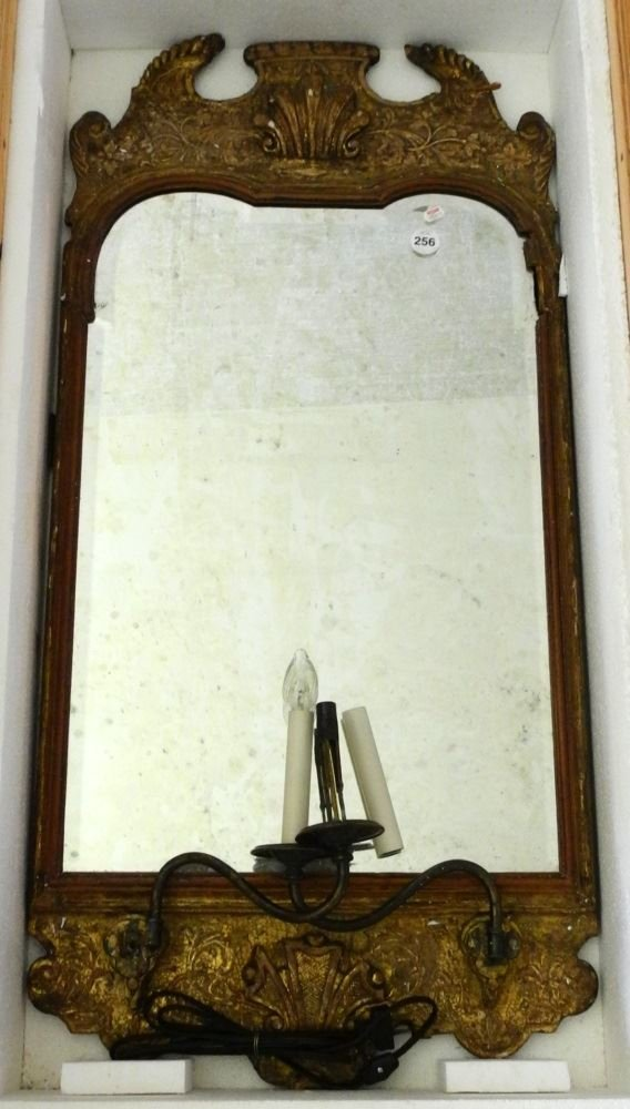Gilt Framed Beveled Mirror with two arm lighting, in