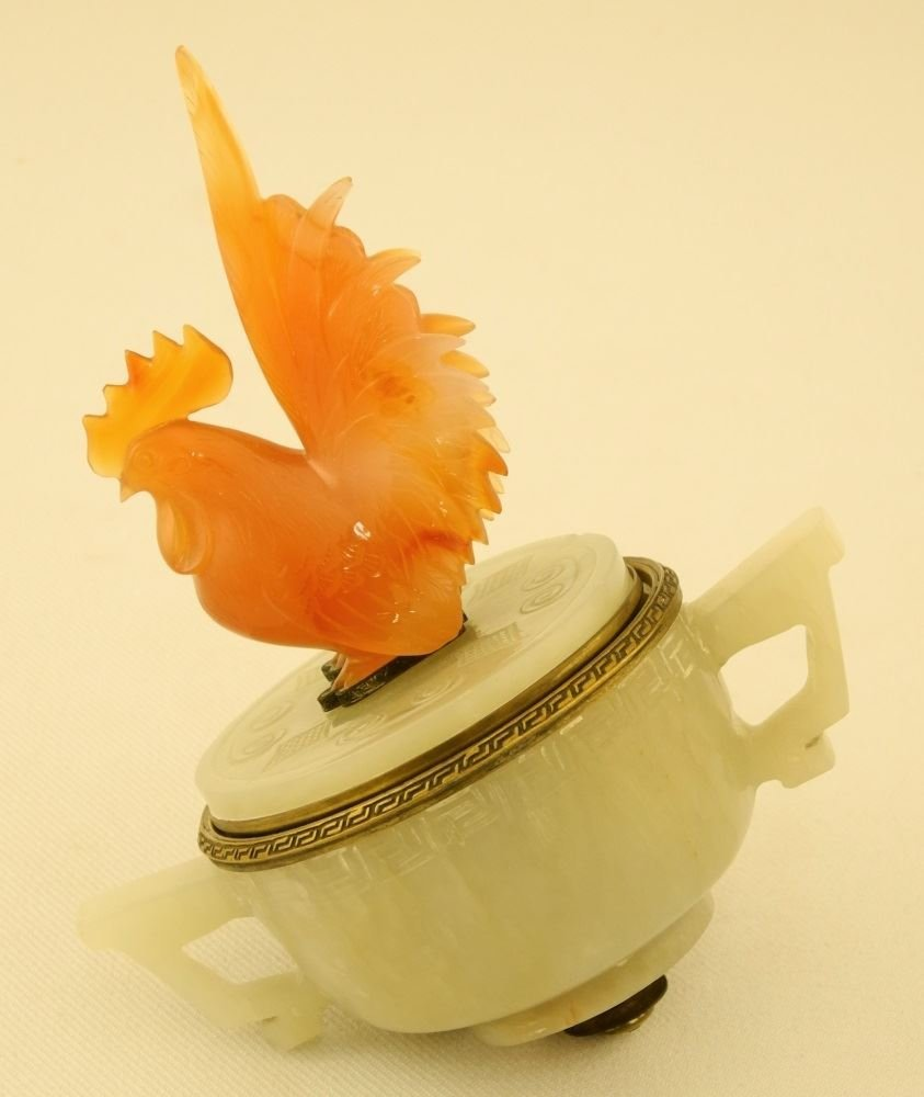 Carved Serpentine Rooster Mounted Jade Inkwell by