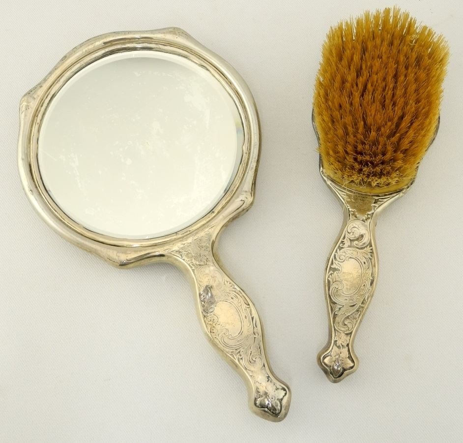 Sterling Silver Dresser Mirror and Matching Brush. - 2