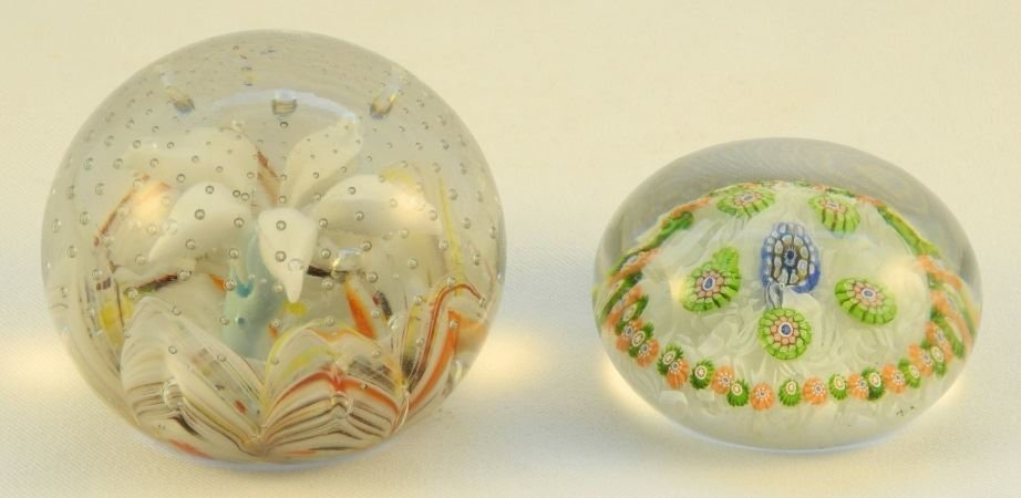 Two Cane Glass Paperweights.