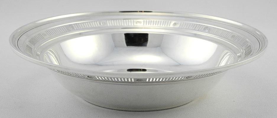 "Pierced Sterling Silver Bowl, 8 1/2"". - 2"