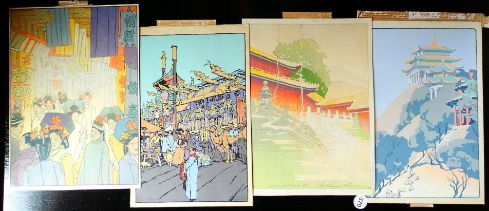 Two Pairs of Japanese Woodblock Prints.