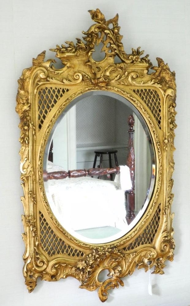 19th C. Carved and Gilded Wall Mirror, beveled glass