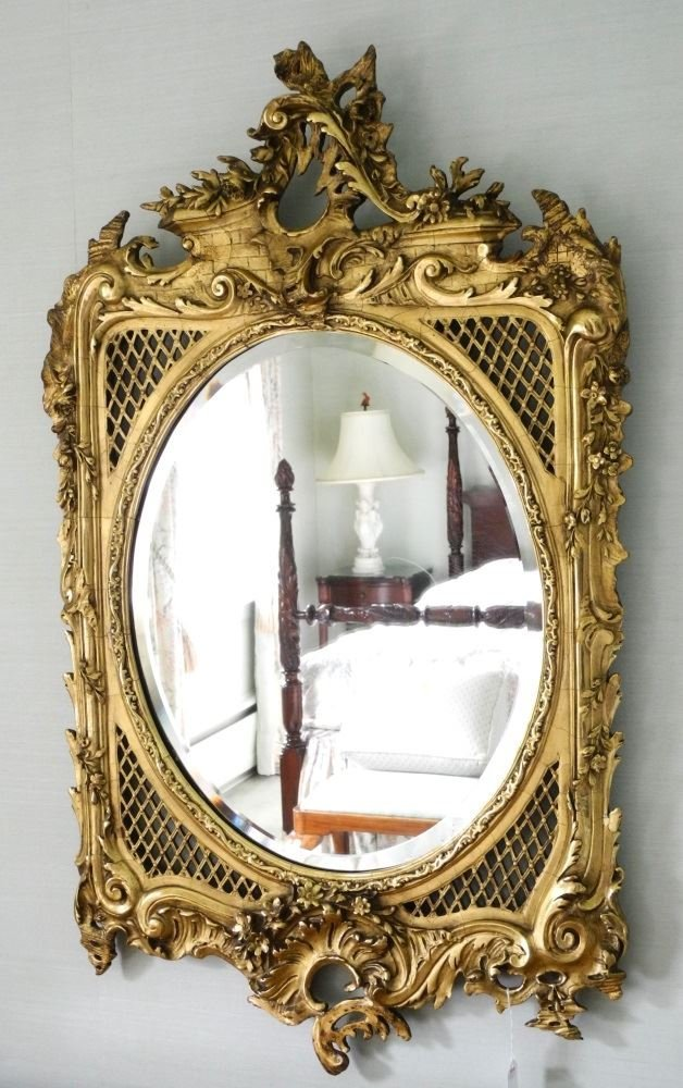 19th C. Carved and Gilded Wall Mirror, beveled glass - 2