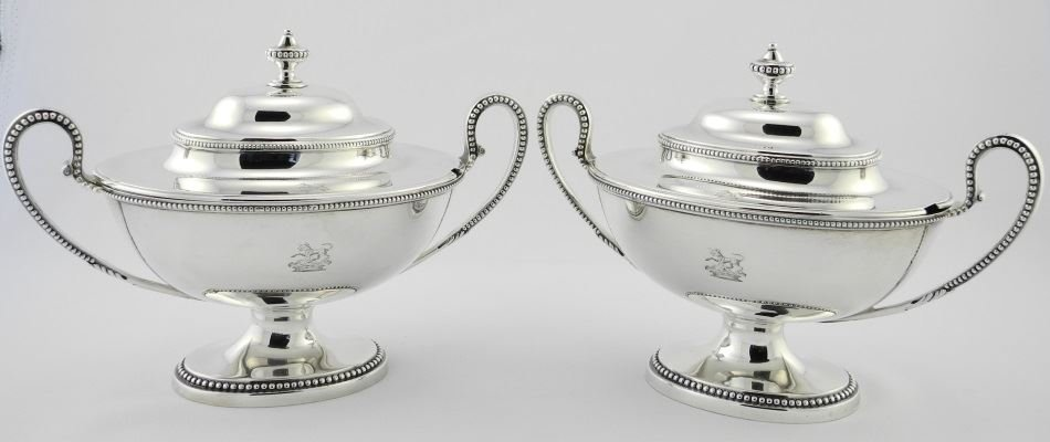 Pair of George III Silver Sauce Tureens & Covers,