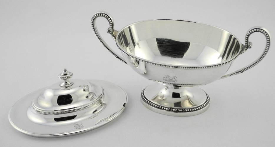 Pair of George III Silver Sauce Tureens & Covers, - 4