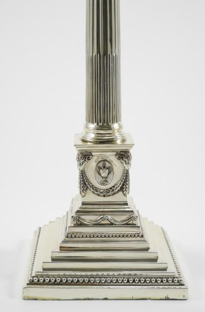 Tall Hallmark Silver 7 Light Corinthian Candelabrum, - 4