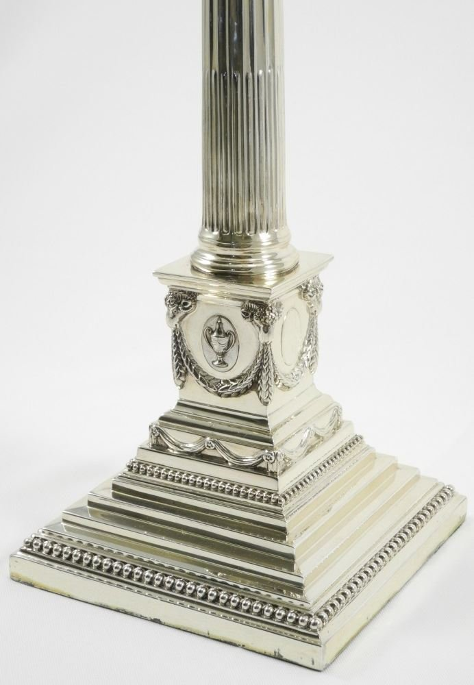 Tall Hallmark Silver 7 Light Corinthian Candelabrum, - 5