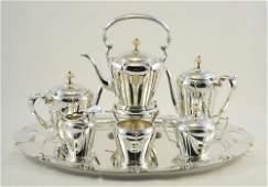 8 pc. American Silver Tea & Coffee service, Lotus