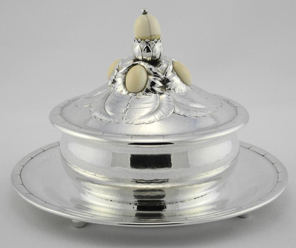 Georg Jensen Circular Sterling Preserve Dish & Cover,