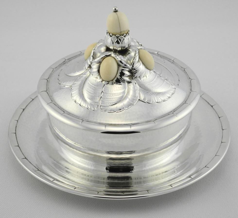 Georg Jensen Circular Sterling Preserve Dish & Cover, - 2