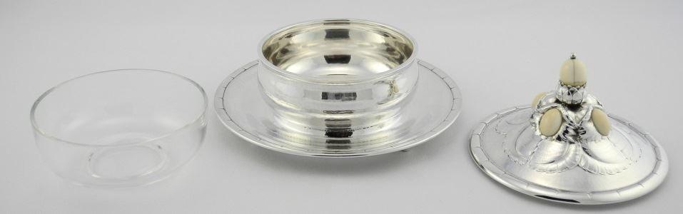 Georg Jensen Circular Sterling Preserve Dish & Cover, - 4