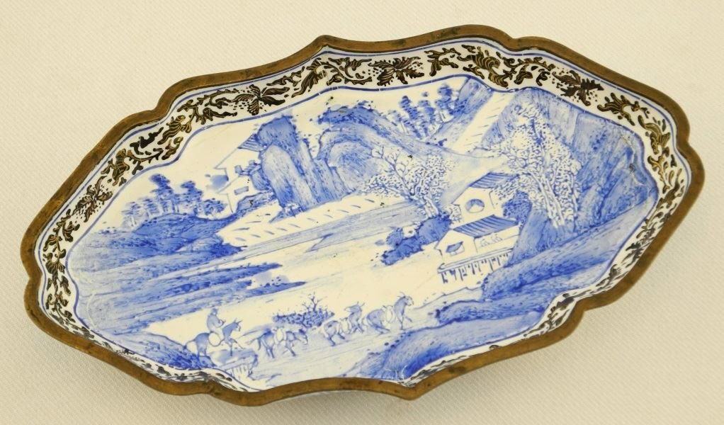 Chinese Enameled Spoon Tray decorated in a blue