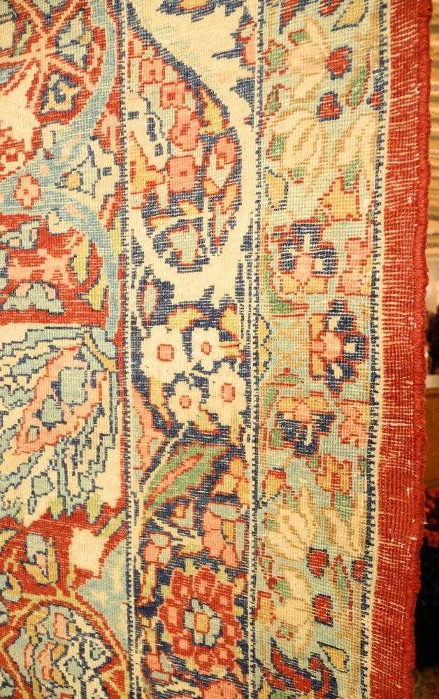 Large Persian Carpet with Koran Inscription, approx. - 9