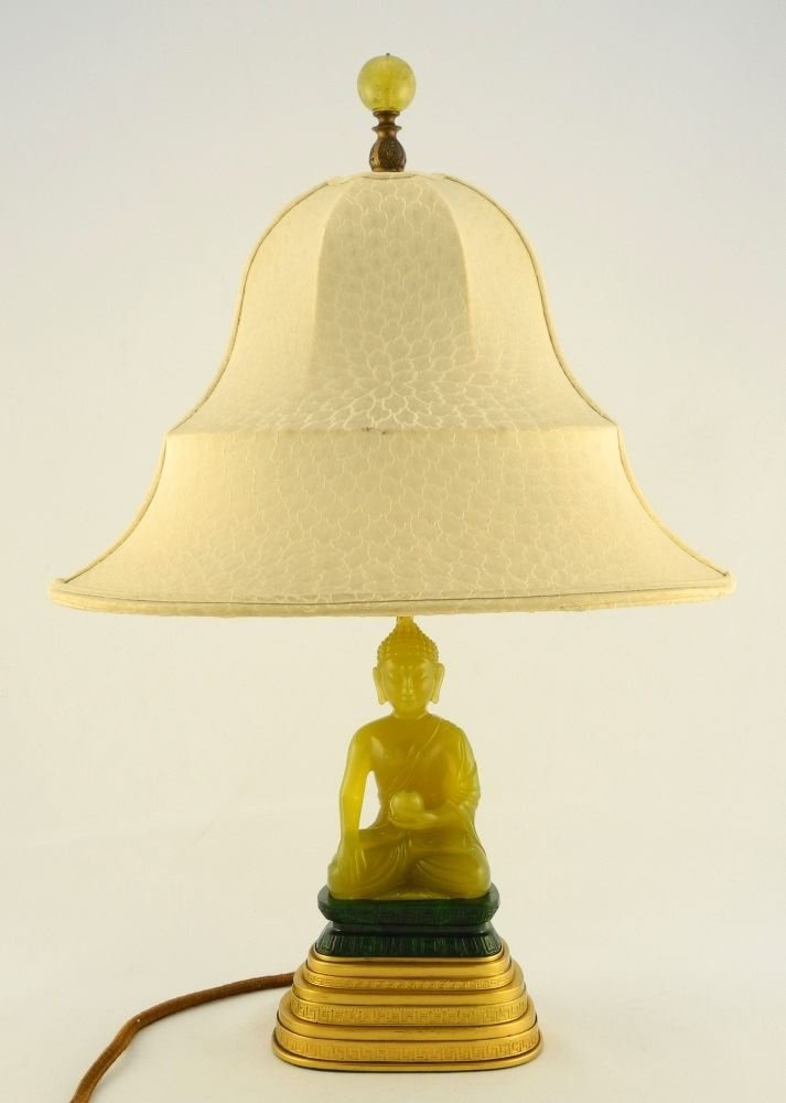 Table Lamp by Yamanaka, seated Serpentine Buddha on