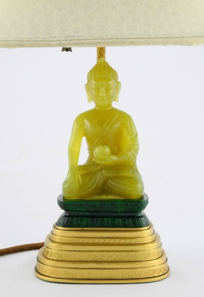 Table Lamp by Yamanaka, seated Serpentine Buddha on - 2