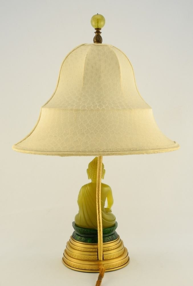 Table Lamp by Yamanaka, seated Serpentine Buddha on - 3