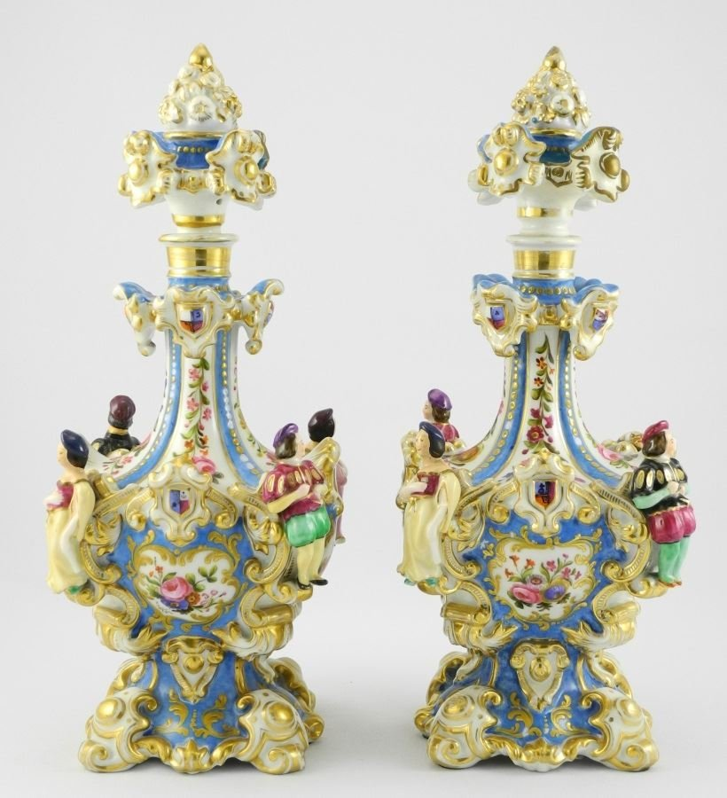 Pair of 19th C. Enameled & Gilded French Porcelain