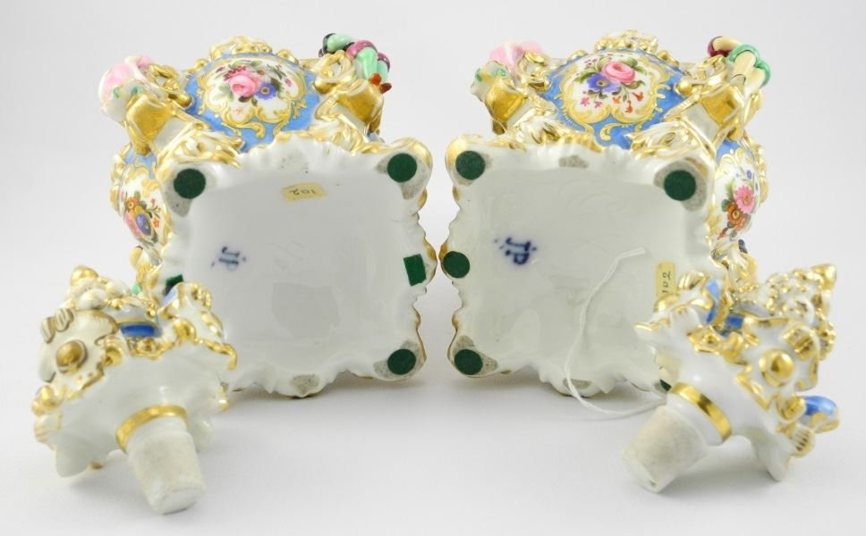 Pair of 19th C. Enameled & Gilded French Porcelain - 4