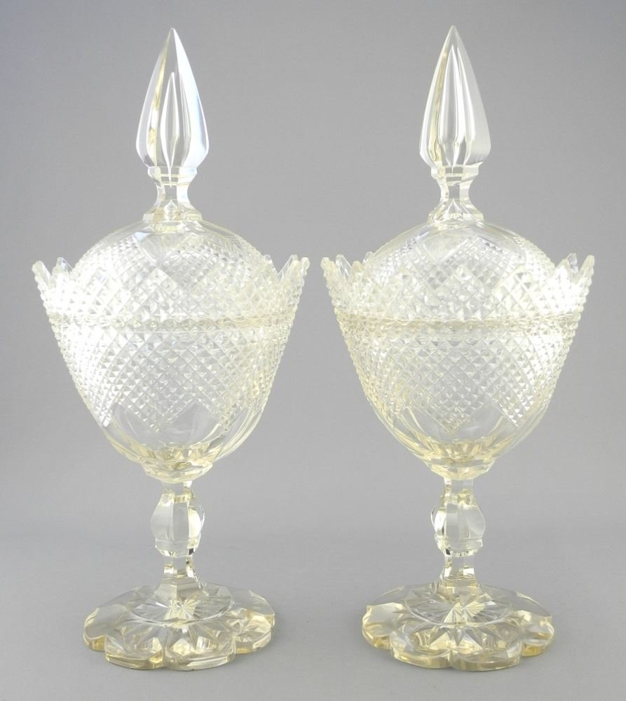 Pair of Tall Stemmed Cut Glass Compotes and Covers with