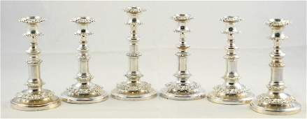 Set of 6 Late Georgian Sheffield Plate Telescopic