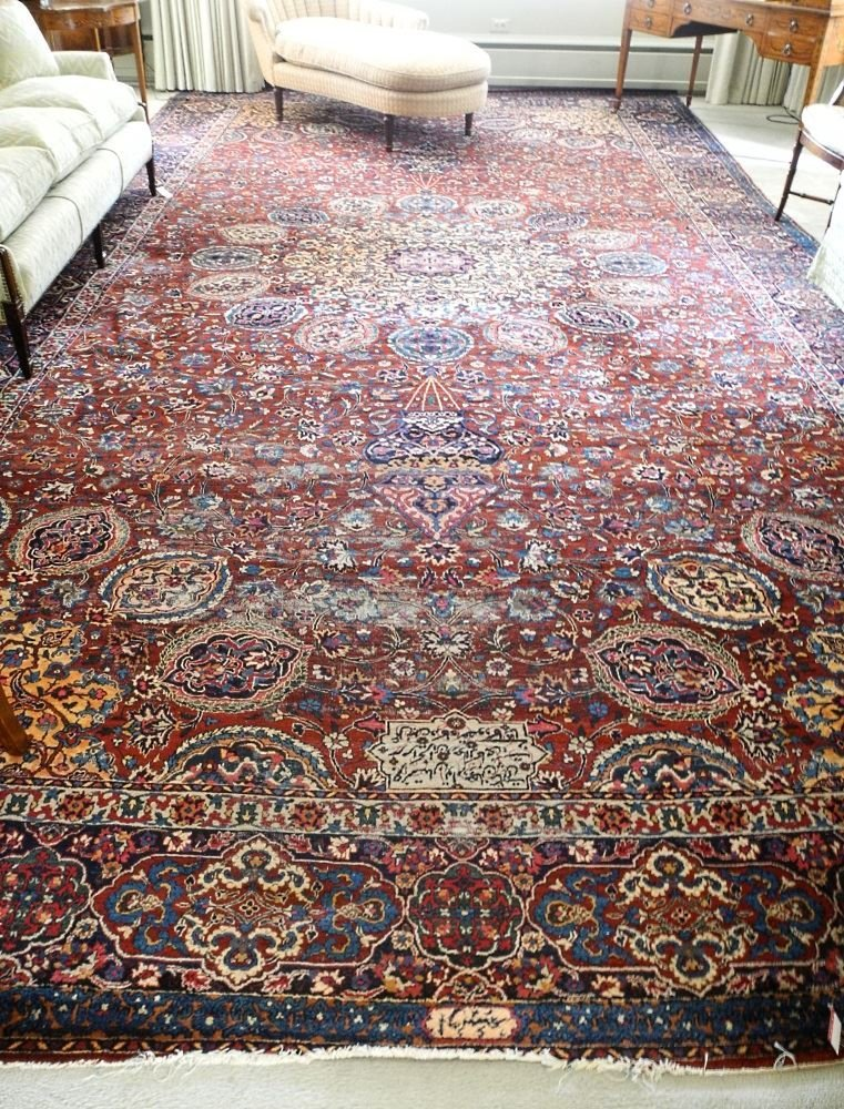 "Kirman Carpet, 20"" x 10'6"", signed."